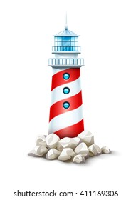 Lighthouse isolated tower, stone rocks hill vector illustration. Beacon on seashore island, icon