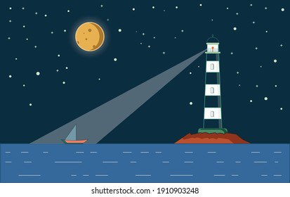 Lighthouse landscape illustration at night time, the lighthouse on the ocean with a boat floating on the ocean, night time moon with a Lighthouse illustration