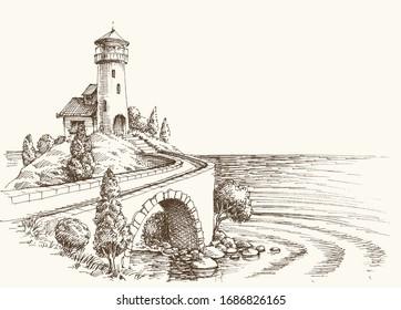 Lighthouse landscape, sea shore vector pencil drawing