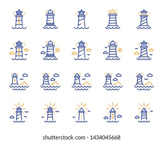 Lighthouse line icons. Searchlight tower with seagull for marine navigation of ships. Sea pharos, lighthouse or beacon icons. Ocean waves, nautical building, marine house. Vector