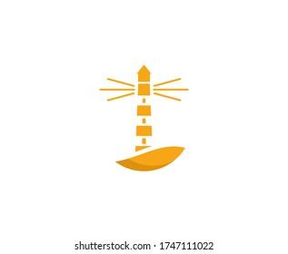 Lighthouse logo beacon vector icon