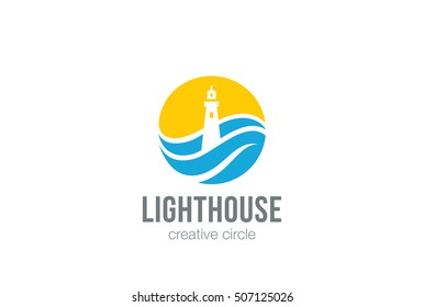 Lighthouse Logo circle abstract design vector template Negative space style.