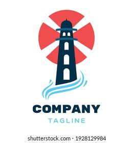 Lighthouse Logo Design Concept. Lighthouse Logo Isolated On White Background.