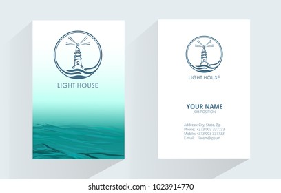 Lighthouse Logo Design on sea background. Lighthouse vector logo design. Element for design business cards, invitations, gift cards, flyers and brochures.