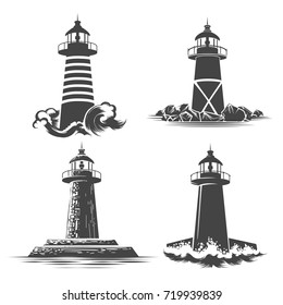 Lighthouse Logo Design Set. Various lighthouse emblems vector illustration.