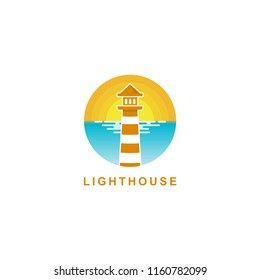 lighthouse logo design, lighthouse with a sunrise beach background vector icon