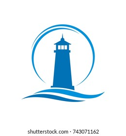 Lighthouse logo design template vector