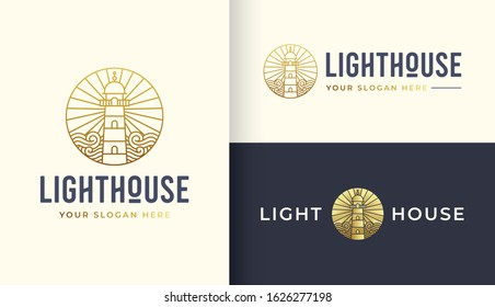 Lighthouse logo design template with water ocean element