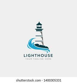 Lighthouse logo design. Vector illustration.