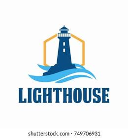 lighthouse logo design. Vector illustration