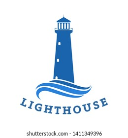 lighthouse logo, icon and illustration