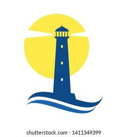 lighthouse logo, icon and illustration