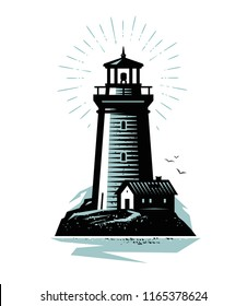 Lighthouse logo or label. Marine concept. Vector illustration