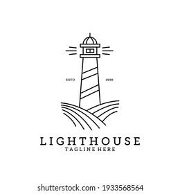 Lighthouse logo line art minimalist vector image design