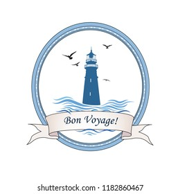 Lighthouse logo. Nautical icon with lighthouse, ocean waves, gull birds. Travel voyage card design