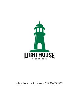 Lighthouse logo template. Building of lighthouse logo vector