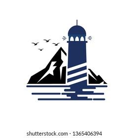 Lighthouse logo template. Building of lighthouse logo vector - Vector