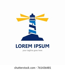 Lighthouse logo template. In modern style and simple.