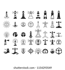 Lighthouse logo. Tower icon. Marine symbol. Vector eps 08.