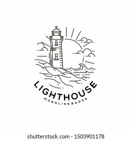 Lighthouse Monoline Landscape Badge Inspirations