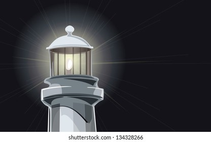 Lighthouse at night vector - fully editable