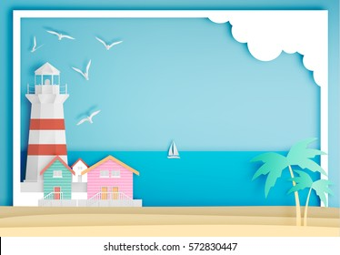 Lighthouse with ocean background frame paper art style vector illustration