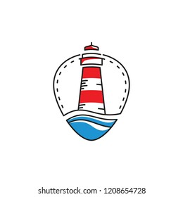 lighthouse with ocean waves design for logo, icon, or label. Vector illustration