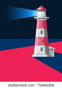 Lighthouse on the beach at night. Vector lighthouse. Light at the night. Poster with lighthouse