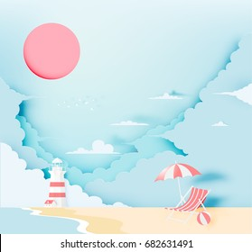 Lighthouse on the beach with ocean background paper art style vector illustration