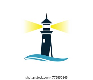 Lighthouse on the Beach with Wave Water Sea Ocean Logo