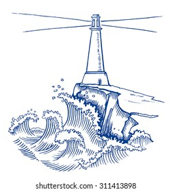 Lighthouse on cliff in stormy weather, vector illustration