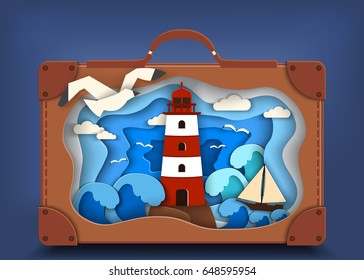 Lighthouse on coast inside brown suitcase and has ship, illusion of depth, paper cut and travel concept.