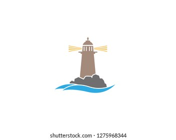 Lighthouse on the island of the middle of the sea