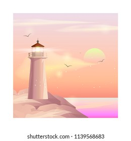 Lighthouse on ocean or sea beach cartoon background vector illustration. Lighthouse on coast of sea, structure of lighthouse on shore