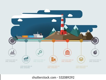 Lighthouse on the rock lights the way to the cargo ship. Infographic vector image.