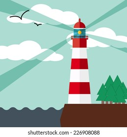 Lighthouse on the rock with seagulls. Vector illustration in flat style.