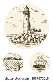 A lighthouse on a rocky shore and a ship on the horizon. Hand drawn sketch. Vintage style. Color vector illustration .