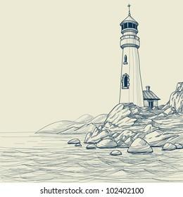 Lighthouse on seashore vector sketch