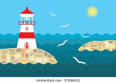 Lighthouse on the stony shore, blue waves and the shining sun