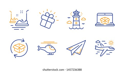Lighthouse, Online delivery and Gift line icons set. Bumper cars, Return parcel and Paper plane signs. Helicopter, Airplane travel symbols. Beacon tower, Parcel tracking website. Vector