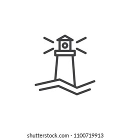 Lighthouse outline icon. linear style sign for mobile concept and web design. Beacon simple line vector icon. Symbol, logo illustration. Pixel perfect vector graphics