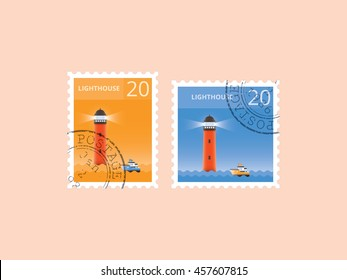 Lighthouse postage stamp, Horizontal and square shape