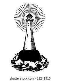 Lighthouse - Retro Clipart Illustration