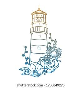 Lighthouse Rose Flower with Vintage Tower Design. Building Floral frame ornament vector style. Decoration Design Wreat illustration.