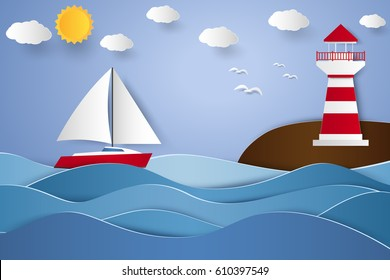 lighthouse and sailboat with seascape , paper art style