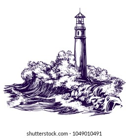 lighthouse and sea landscape, storm hand drawn vector illustration realistic sketch