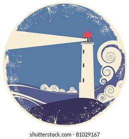 lighthouse in sea landscape.Vector vintage illustration on old paper