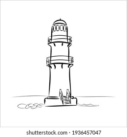 Lighthouse. Sea ocean. black and white drawing. pencil sketch. vector eps 10. contour, packaging design, print for clothes. Postcard.