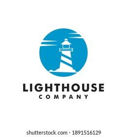 Lighthouse Sea Ocean Marine Sky Logo Design