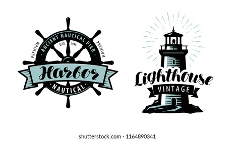 Lighthouse, sea pier, harbour logo or label. Nautical concept. Typographic design vector